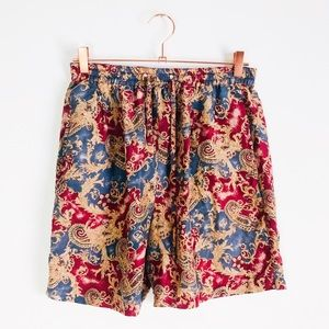 [vintage] Silk Paisley High Rise Drawstring Shorts